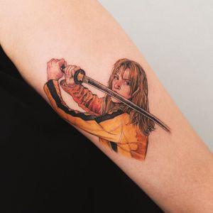 Tattoo by Sol #SolTattoo #movietattoos #movie #film #realism #realistic #hyperrealism #portrait #quentintarantino #KillBill #samuraisword #sword #UmaThurman #color