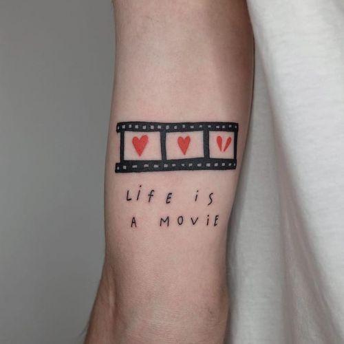 Tattoo by Victor Zabuga #VictorZabuga #movietattoos #movie #film #heart #quote #text #font #minimal #small