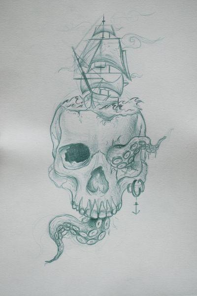 Kraken, ship and skull design #design #skulltattoo #shiptattoo #kraken #draw #realism