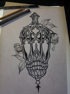 Neotraditional lamp #neotraditionaltattoos #neotraditional #lamp #skulltattoo #design #draw #sketch