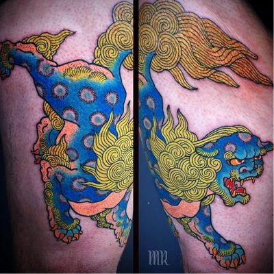 Tattoo by Mike Rubendall #MikeRubendall #fooddogtattoo #shishi #foodog #lion #guardian #folklore #protector #color #Japanese