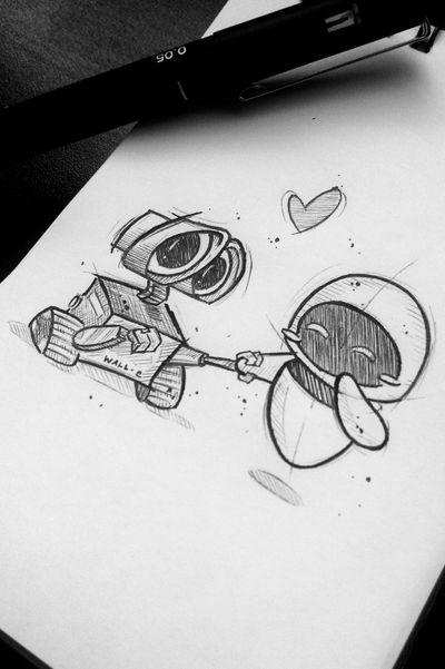Wall-e & Eva ***DISPONÍVEL*** #Pixar #disneytattoo #disney #tattooart #tattooartist #draw #drawing #sketchtattoo #sketch #dotworktattoo #dotwork #walle #eva #couplestattoo #coupletattoo #couple