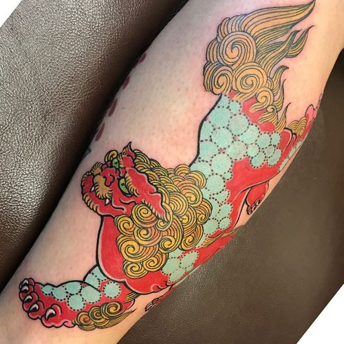 Tattoo by Darren Brass #DarrenBrass #fooddogtattoo #shishi #foodog #lion #guardian #folklore #protector #color #japanese