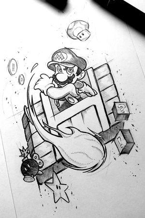Super Mário #gamertattoos #gamer #gamertattoo #game #mariobros #mario #supermariotattoo #supermariobros #supermario #sketchstyle #sketchtattoo #sketch