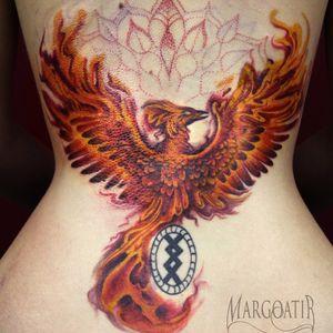 The black circle tattoo is from another artist #margoatir #tattoo #amsterdamtattoo #phoenixtattoo #phoenix