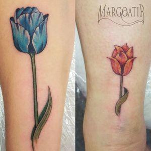 Tulip tattoos #amsterdam #amsterdamtattoo #realistic #tattoo #margoatir