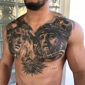 Tattoo by Teneile Napoli #TeneileNapoli #GarageInkManor #Australia #blackandgrey #realism #realistic #portrait #Jesus #VirginMary #sacredheart #heart #tears #crownofthorns #lace #religious #Christian