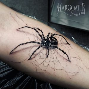 Realistic spider #amsterdam #amsterdamtattoo #realistic #greywash #tattoo #margoatir #spidertattoo