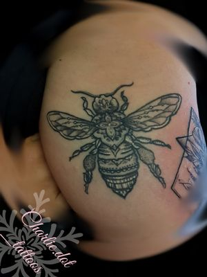 Healed picture of mandala bumble bee. #healedtattoo #tattoo #blackwork #femaletattooartist