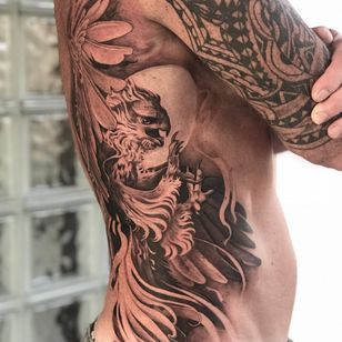 Tattoo by Teneile Napoli #TeneileNapoli #GarageInkManor #Australia #blackandgrey #realism #realistic #bird #feathers #falcon #wings #moon #nature #animal