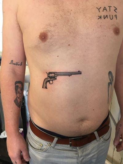 Old pistol #pistol #revolver #gun #blacktattoo #fineline #dotwork
