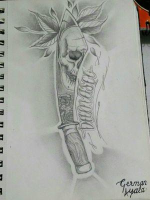 Diseño y boceto de espada con cráneo y flores, lettering a un costado #arq.ink #tattoodesign #drawing #espada #flores #craneo #skull #flowers #dibujolapiz #sword #art #MX #mexicoink © German Ayala