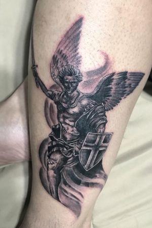 St. Michael on my cuz #BlackAndGrey #StMichael #Archangel #BlackAndGreyTattoo