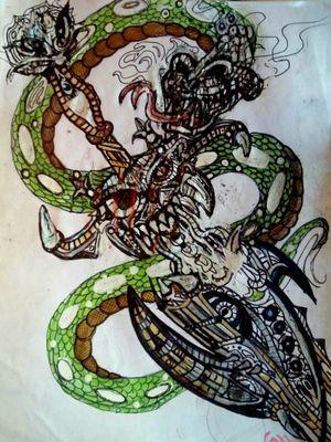 A Serpent constricting a demonic sword
