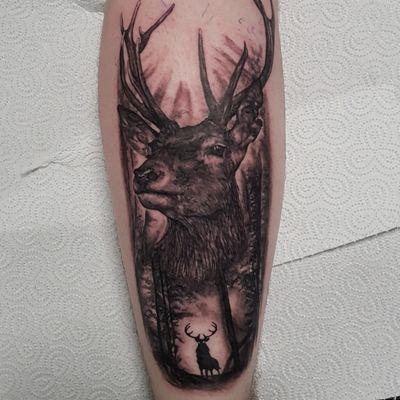 Deer within the woods. #deertattoo #blackandgreytattoo #blackwork #stag #deer #tattoo #realism #woods