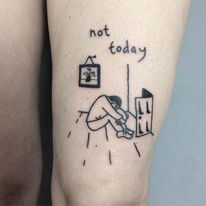 Tattoo by Woozy #Woozy #minimalisttattoo #minimal #small #tiny #smalltattoo #simple #line #illustrative #quote #text #sad #door #plant #pottedplant #sadness