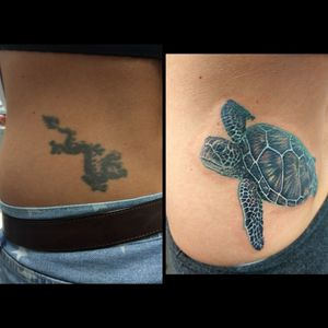 Before and after cover up. Find Richard Hart on FB. #CoverUpTattoos #coveruptattoo #dragon #blacktattoo #blackdragon #seacreature #seaturtletattoo #turtles #turtletattoo #seaturtle #color #colortattoo #realism #animaltattoo #animalcoverup