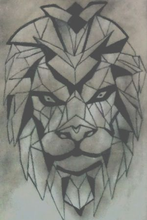 Lion, synthetic cubism #fineline #blackwork #inkaholic #cubism #geometric