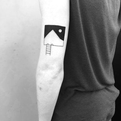 Tattoo by Chinatown Stropky #ChinatownStropky #minimalisttattoo #minimal #small #tiny #smalltattoo #simple #mountain #moon #ladder #stairs #landscape