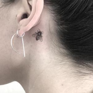 Tattoo by Nal #Nal #minimalisttattoo #minimal #small #tiny #smalltattoo #simple #bee #insect #animal #detailed #illustrative