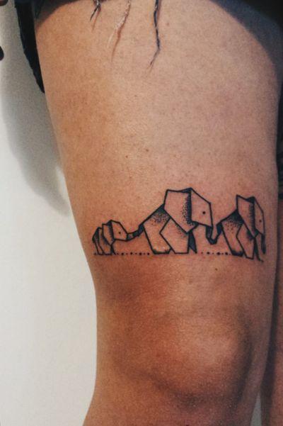 Family 🖤🐘 #elephanttattoo #family #goodluck #puntillism #origami #Black #inkgirl #inked