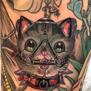 Tattoo by Matt Pardo #MattPardo #cattattoo #cattattoos #cat #kitty #animal #petportrait #nature #color #newschool #illustrative #bdsm #funny #bow #leather
