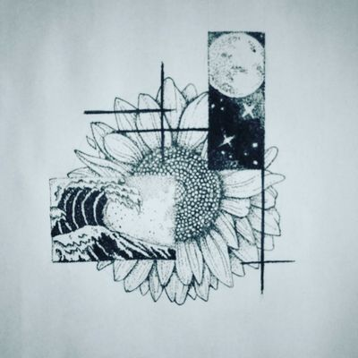 """""""Sunflower and other things i like"""" #art #draw #ilustration #sunflowers #sunflowertattoo #sunflower #dotworktattoo #dotwork #dot"""