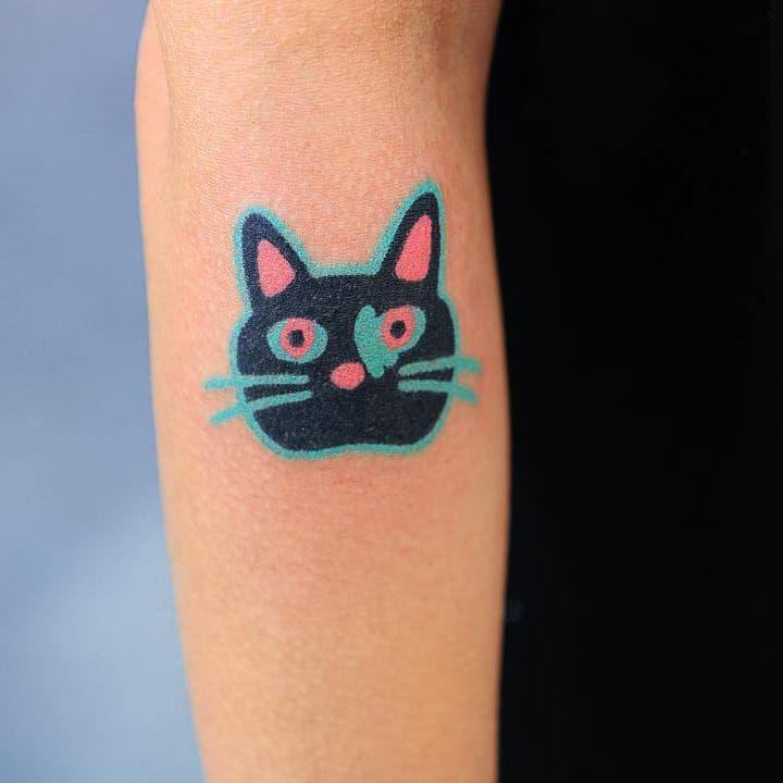Tattoo by Zzizzi #Zzizzi #Zzizziboy #cattattoo #cattattoos #cat #kitty #animal #petportrait #nature #abstract #handpoke #blue #cute #illustrative