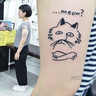 Tattoo by Woozy #Woozy #cattattoo #cattattoos #cat #kitty #animal #petportrait #nature #ignorantstyle #ignorant #illustrative #text #meow #funny #linework #sketch
