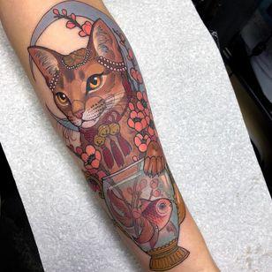 Tattoo by Hannah Flowers #HannahFlowers #neotraditional #artnouveau #color #painterly #portrait #cat #petportrait #goldfish #bells #pearls #cherryblossom #moon