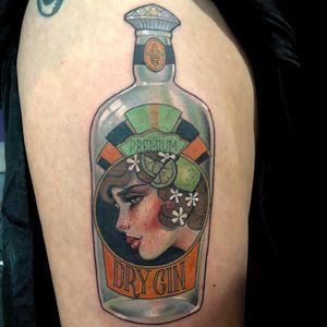 Tattoo by Hannah Flowers #HannahFlowers #neotraditional #artnouveau #color #painterly #portrait #lady #ladyhead #gin #alcohol #lime #fruit #blossom #flower #floral #glass #bottle