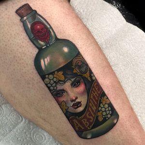 Tattoo by Hannah Flowers #HannahFlowers #neotraditional #artnouveau #color #painterly #portrait #lady #ladyhead #grapes #absinthe #drink #alcohol #vulture #death #skull #bottle #glass