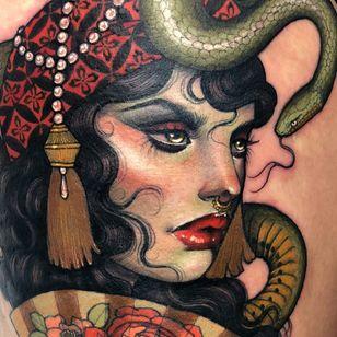 Tattoo by Hannah Flowers #HannahFlowers #neotraditional #artnouveau #color #painterly #portrait #lady #ladyhead #snake #serpent #reptile #pearls #tassel