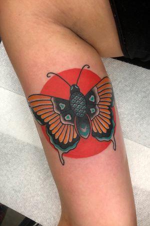 Alex's first tattoo #butterflytattoo #butterfly #traditionaltattoo #traditionalbutterfly #traditional