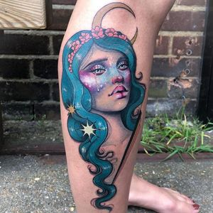 Tattoo by Hannah Flowers #HannahFlowers #neotraditional #artnouveau #color #painterly #portrait #lady #ladyhead #galaxy #stars #moon #flowers #cherryblossom #floral #space #scifi #surreal