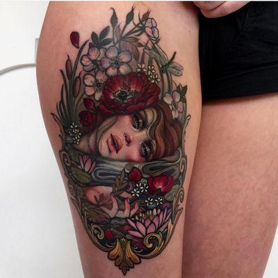 Tattoo by Hannah Flowers #HannahFlowers #neotraditional #artnouveau #color #painterly #portrait #lady #ladyhead #flowers #lotus #magnolia #nature #filigree