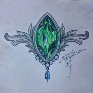 The emerald stone #underbust #stonetattoo #emerald #freedesign  #tattoodesigner #tattoodesigns