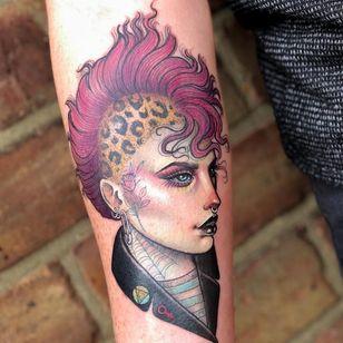 Tattoo by Hannah Flowers #HannahFlowers #neotraditional #artnouveau #color #painterly #portrait #lady #ladyhead #punk #punkrock #rose #cheetahprint #mohawk #anarchy #femme #spiderweb #safetypin #babe