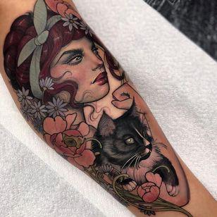 Tattoo by Hannah Flowers #HannahFlowers #neotraditional #artnouveau #color #painterly #portrait #lady #ladyhead #RosieTheRiveter #cat #kitty #petportrait #flowers #floral #leaves #nature