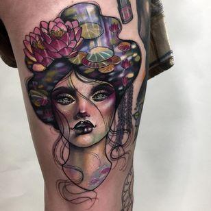 Tattoo by Hannah Flowers #HannahFlowers #neotraditional #artnouveau #color #painterly #portrait #lady #ladyhead #lotus $flower #floral #lilypad #river #reflection