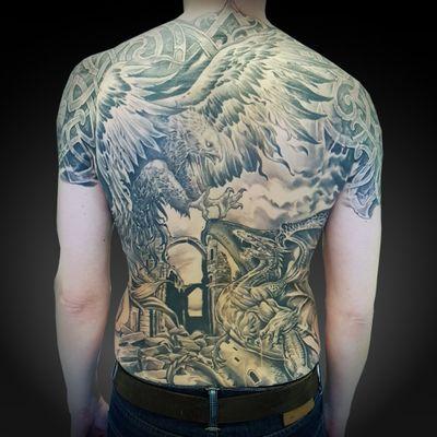 Full back tattoo #nordic #viking #tattoosbycharlie #fantasy #dragon #phoenix #blackandgrey