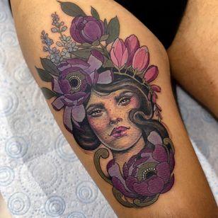 Tattoo by Hannah Flowers #HannahFlowers #neotraditional #artnouveau #color #painterly #portrait #lady #ladyhead #flowers #floral #leaves #nature