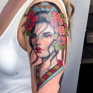 Tattoo by Hannah Flowers #HannahFlowers #neotraditional #artnouveau #color #painterly #portrait #lady #ladyhead #oriental #pattern #peony #floral #floral #Japanese #geisha #tiara #dragonfly #insect #nature
