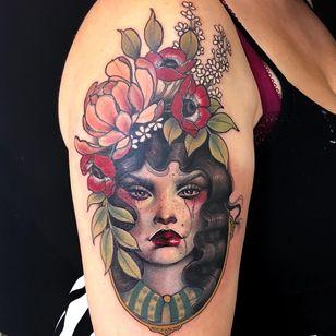 Tattoo by Hannah Flowers #HannahFlowers #neotraditional #artnouveau #color #painterly #portrait #lady #ladyhead #peony #flower #floral #leaves #nature #filigree