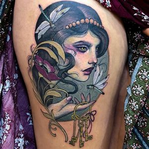 Tattoo by Hannah Flowers #HannahFlowers #neotraditional #artnouveau #color #painterly #portrait #lady #ladyhead #key #keys #flowers #dragonfly #insect #nature