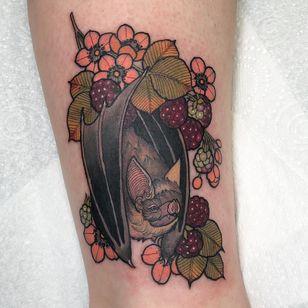 Tattoo by Hannah Flowers #HannahFlowers #neotraditional #artnouveau #color #painterly #bat #nature #animal #fruit #raspberry #raspberries #leaves #blossom #flower #floral