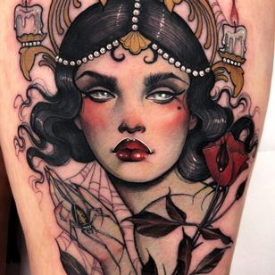Tattoo by Hannah Flowers #HannahFlowers #neotraditional #artnouveau #color #painterly #portrait #lady #ladyhead #candle #pearls #light #spider #spiderweb #rose #flower #floral #leaves #nature