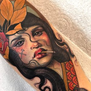 Tattoo by Hannah Flowers #HannahFlowers #neotraditional #artnouveau #color #painterly #portrait #lady #ladyhead #rose #flower #floral #leaves #cigarette #pattern