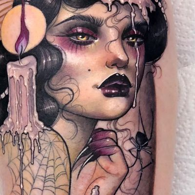 Tattoo by Hannah Flowers #HannahFlowers #neotraditional #artnouveau #color #painterly #portrait #lady #ladyhead #candle #spider #melting #wax #spiderweb