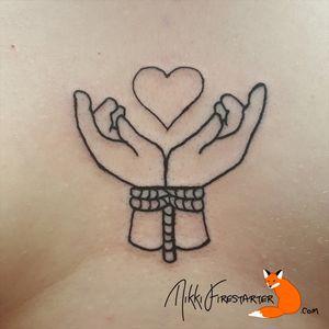 Hands bound from the Valentine's flash special (Feb 2018) http://nikkifirestarter.com #tattoos #ink #bodyart #bodymod #blacktattoos #lineart #lineworktattoos #hearttattoos #valentinestattoos #romantictattoos #cutetattoos #bondagetattoos #bondage #bdsm #blackink